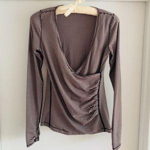 Lululemon Black & Cream Striped Yoga Top Size 6